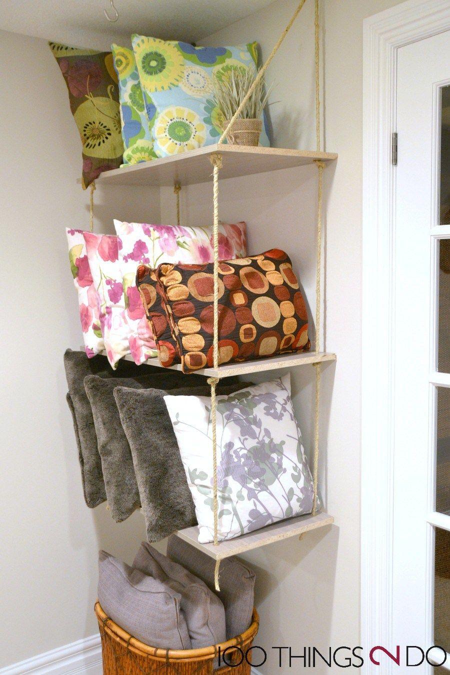 Throw Pillow Storage Diy Rope Shelves Pillow Storage