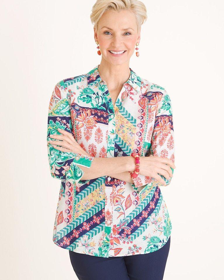 65c7328be0f Linen Mixed-Print Shirt in 2019   spring2019   Printed shirts ...
