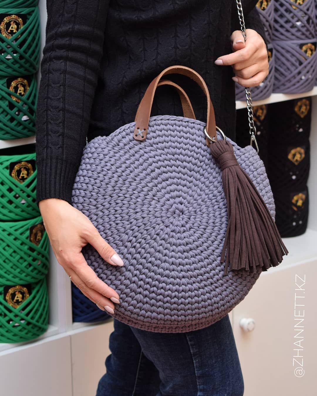 27f71f74010b Новая сумка Лагуна из нашей трикотажной пряжи @altyn_nitka цвет Графит.  Давно я хотела воплотить