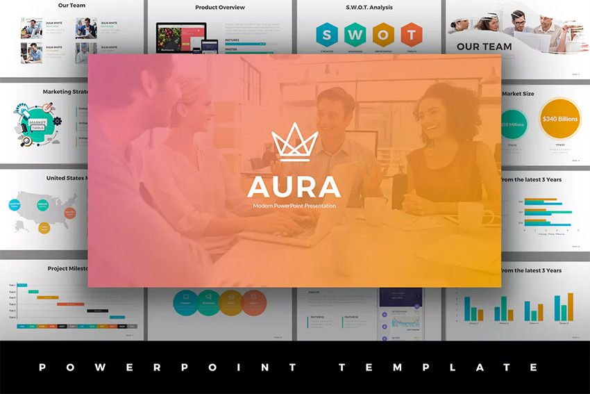 aura awesome ppt template with cool slide designs powerpoint