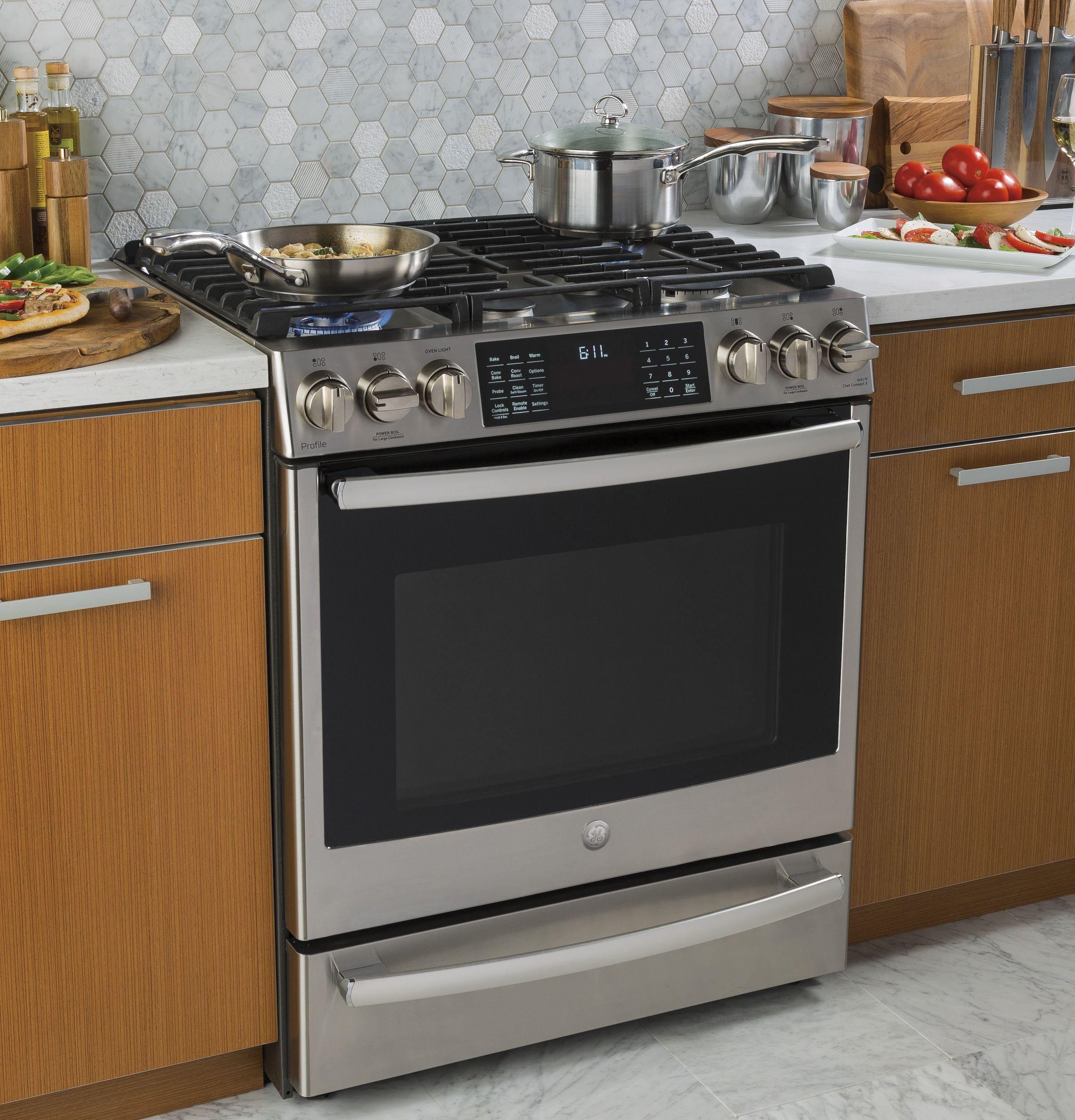 Ge Profile 30 Smart Dual Fuel Slide In Front Control Range P2s930selss Kitchen Renovation New Kitchen Kitchen Remodel