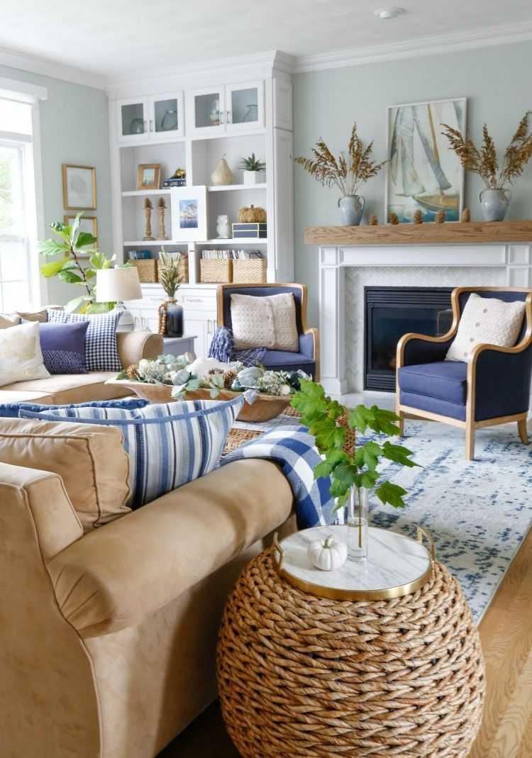 Navy and Neutral Fall Living Room + Kitchen Tour - Sand and Sisal