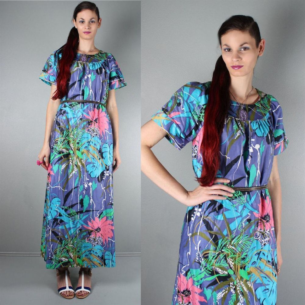 70s Tropical Hawaiian Boho Hippie Festival Maxi Day Dress  GRAB IT FROM OUR EBAY STORE NOW!
