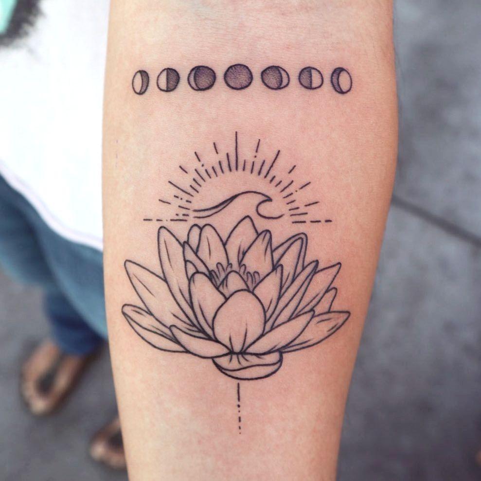 Moon Tattoo Sun And Lotus Flower Lotus Flower Tattoo Design Simple Lotus Flower Tattoo Lotus Tattoo Design