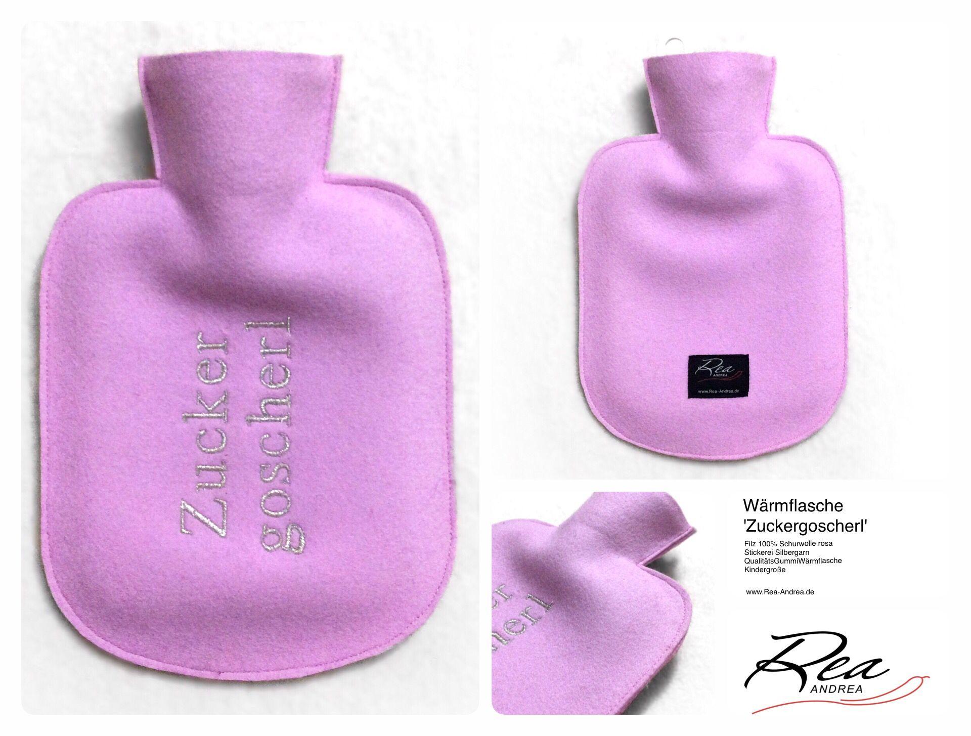Wärmflasche 'Zuckergoscherl' -- Filz 100% Schurwolle rosa - Stickerei Silbergarn - QualitätsGummiWärmflasche - Kindergröße