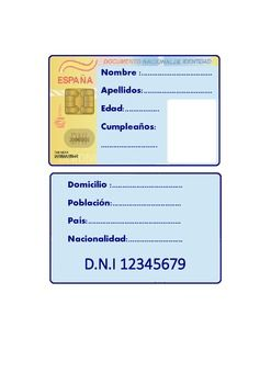 Spanish Identity Card Activity Identity Activities Spanish Resources
