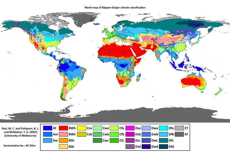 An Updated KöppenGeiger Climate Map Af Am Aw BWh BWk BSh BSk - Us climate map zone
