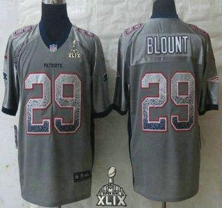 Niike New England Patriots Jersey 29 LeGarrette Blount 2015 Super Bowl XLIX 2013 Drift Fashion Gray Elite Jerseys