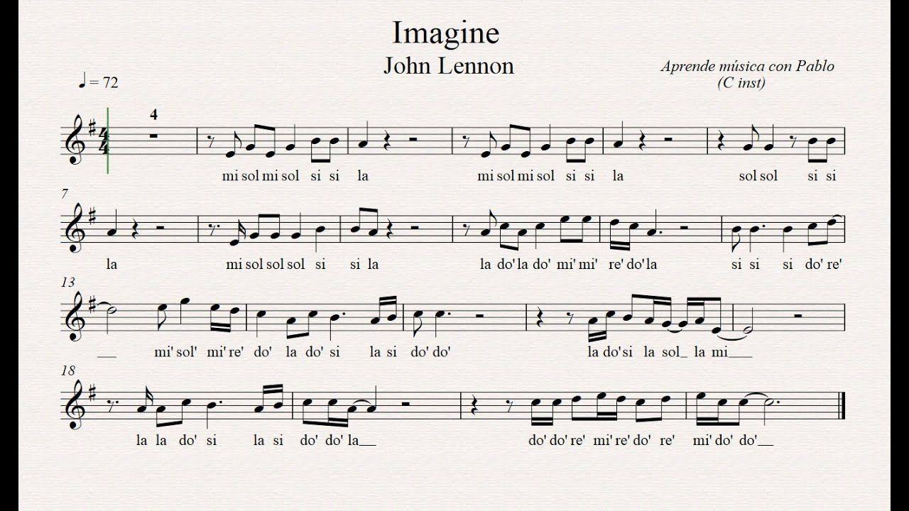 Imagine Flauta Violín Oboe Partitura Con Playback Partituras Flauta Partituras Trompeta