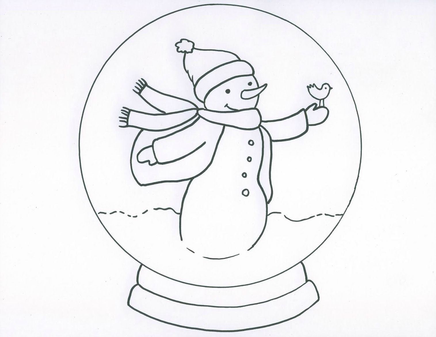 Snowman With Snow Globe Coloring Page Winter Art Projects