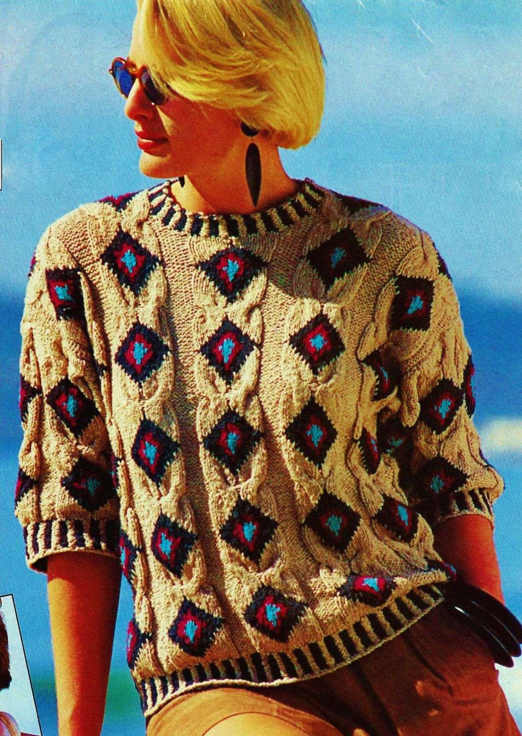 Aztec inspired cabled pullover top vintage knitting pattern aztec inspired cabled pullover top vintage knitting pattern download by momentsintwine on etsy dt1010fo