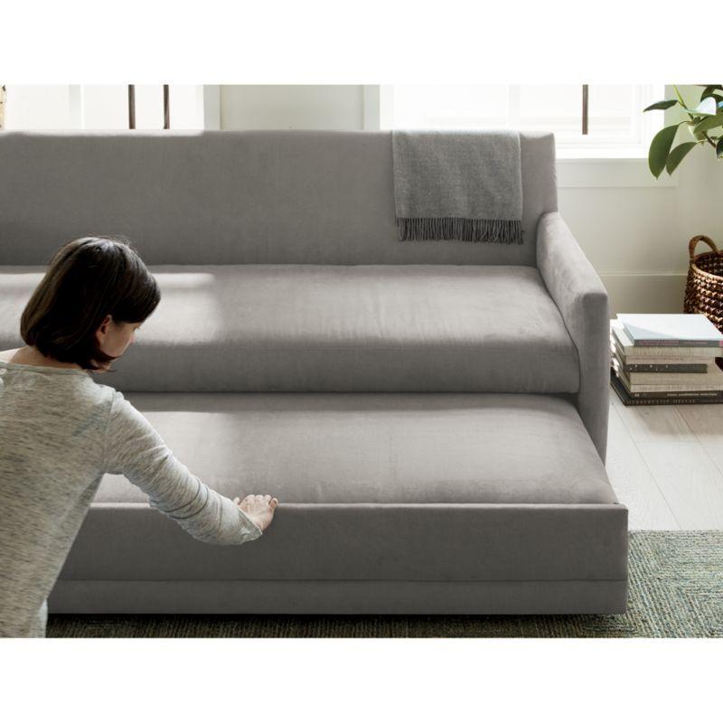 Reston Queen Trundle Sleeper Sofa In 2020 Sofa Modern Sleeper