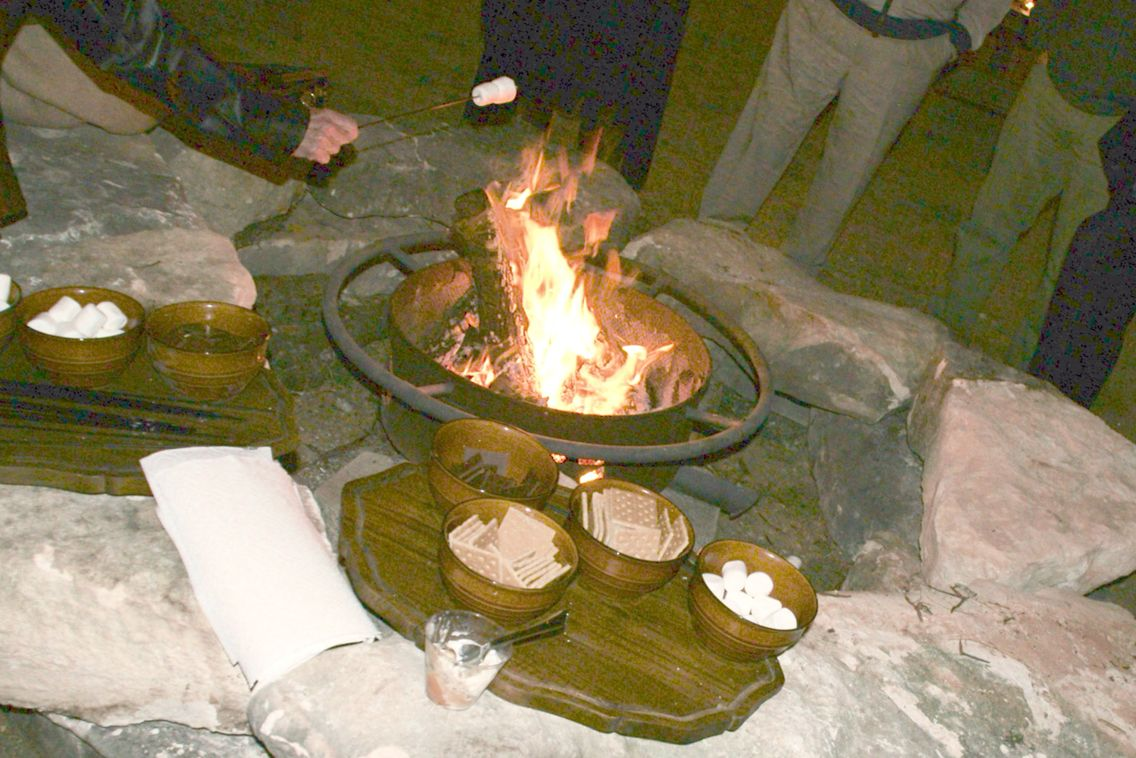 Covered outdoor eating area, + fire pit and drink cooler ... |Dude Ranch Fire Pit