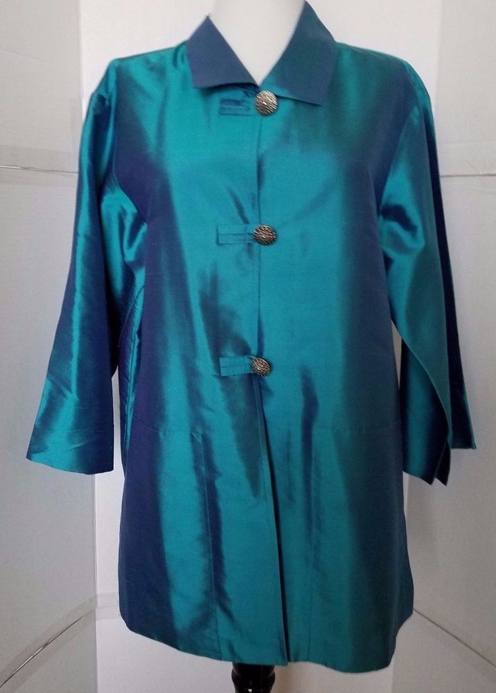 08ae68f92d Coldwater Creek Tunic Silk Dupioni Teal Button 3 4 sleeve Womens sz S small   ColdwaterCreek  Tunic  EveningOccasion