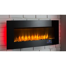 Shop Scott Living 40 In W 4 600 Btu Black Metal Wall Mount Infrared Quartz Electric Fireplace With Media Mant Fireplace Electric Fireplace Wall Mount Fireplace