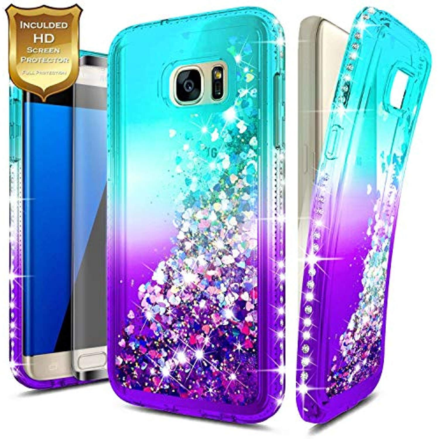 S7 Edge Case W Full Cover Screen Protector Hd Clear Nagebee Glitter Quicksand Liquid Floating Shiny Sparkle Flowing Glitter Case Glitter Iphone Case Iphone