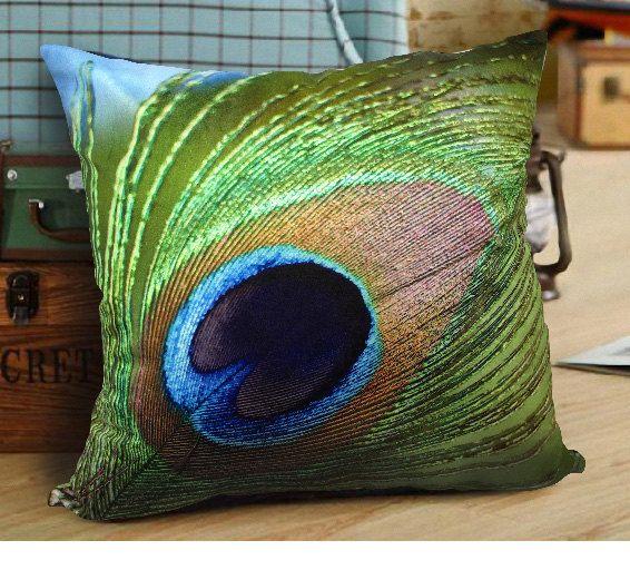 Vivid Velvet Peacock Feather Cushion Case Decorative Pillow Case