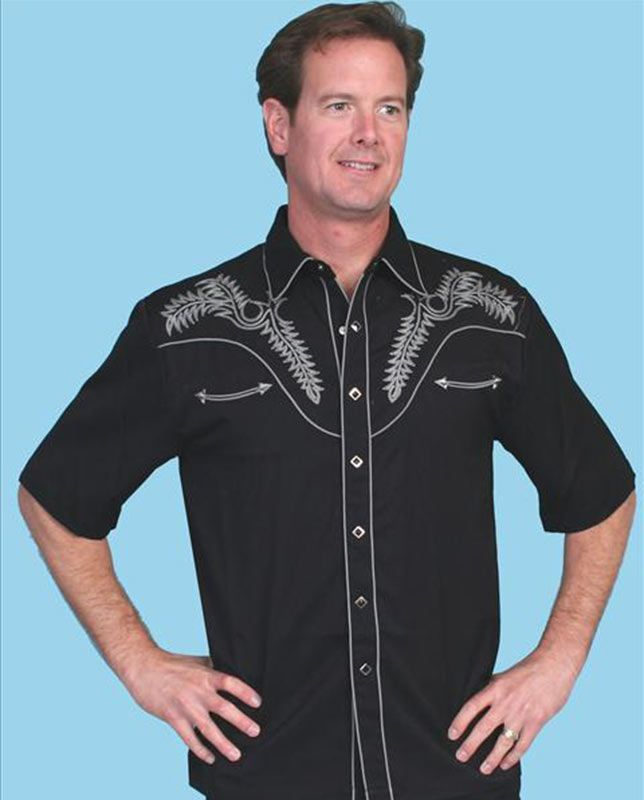 4e4a84f2 Scully Men's Black and Silver Palm Embroidery Short Sleeve Western Shirt