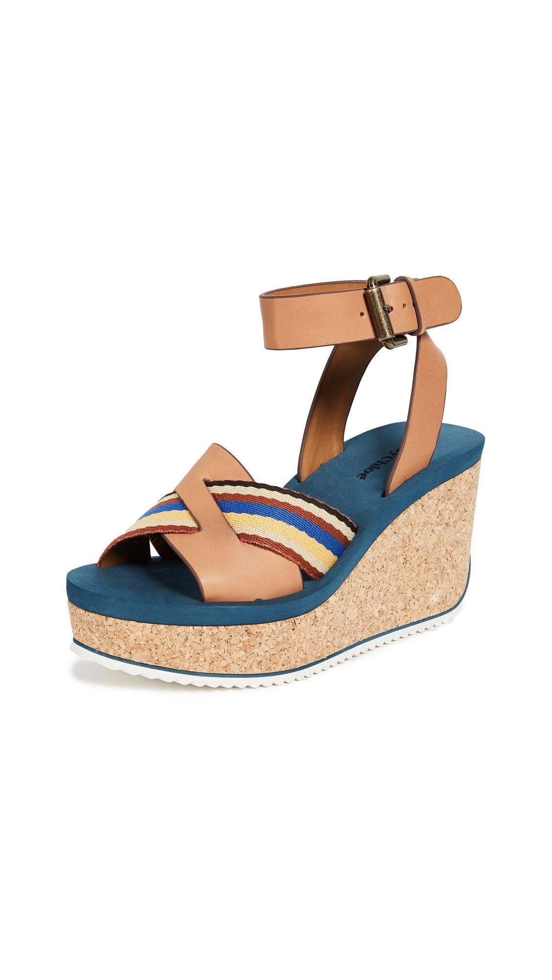 a0e5d2acd19 SEE BY CHLOÉ MINA CORK WEDGE SANDALS.  seebychloé  shoes