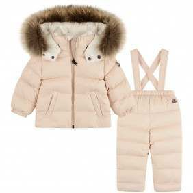 f4cb1de9ce6f Moncler Girls Pink Down Padded New Mauger Baby Snowsuit