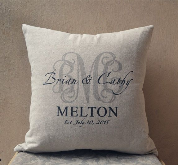 Personalized Pillow Cover Monogram Cushion Cover Gift For Wedding Anniversary Personalized Pillows Pillows Monogram Gifts