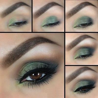 Maquillaje de ojos para vestido verde claro