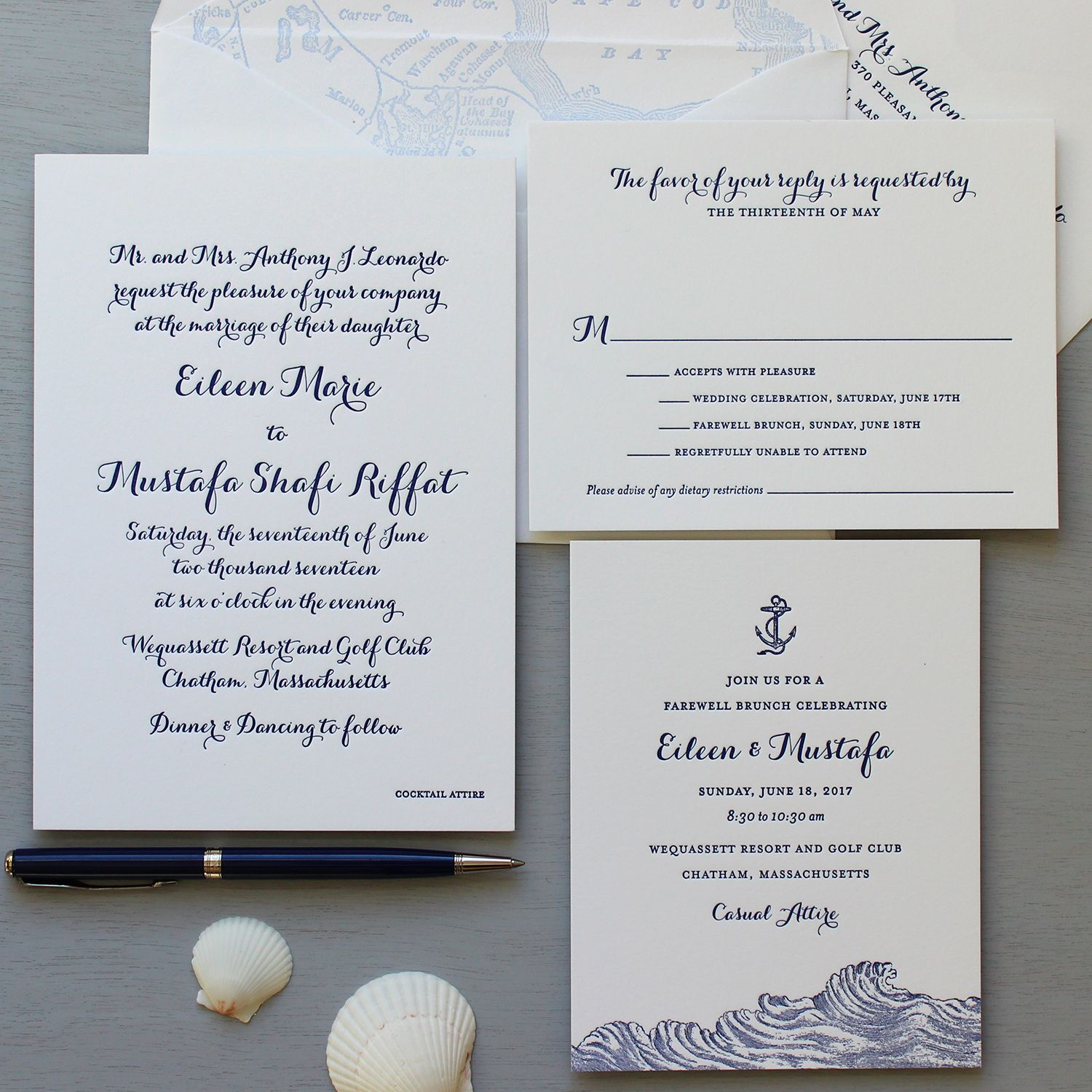 Cape cod letterpress wedding invitations in navy with nautical