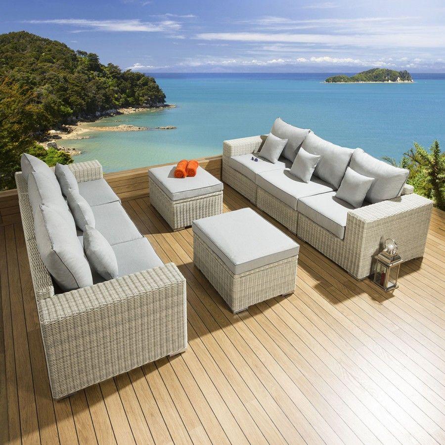 Lovely Garden 2 X 3 Seater Sofa Set Stone Rattan Grey Cushion S6 Garden Furniture Design Beige Cushions Seater Sofa