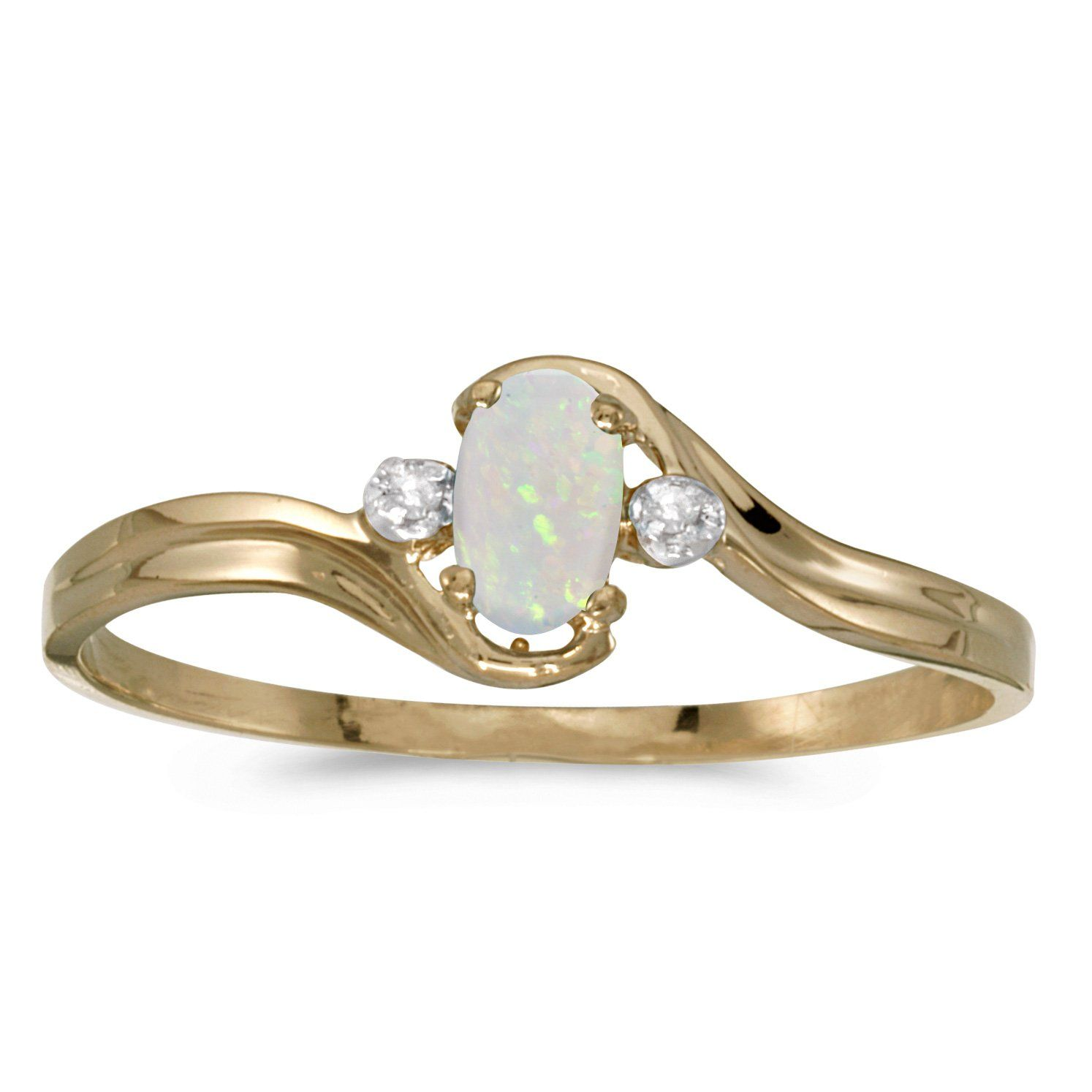 0.09 Carat ctw 10k Gold Oval White Opal Solitaire & Diamond Accent Bypass Swirl Fashion Promise Ring - Yellow-gold, Size 7