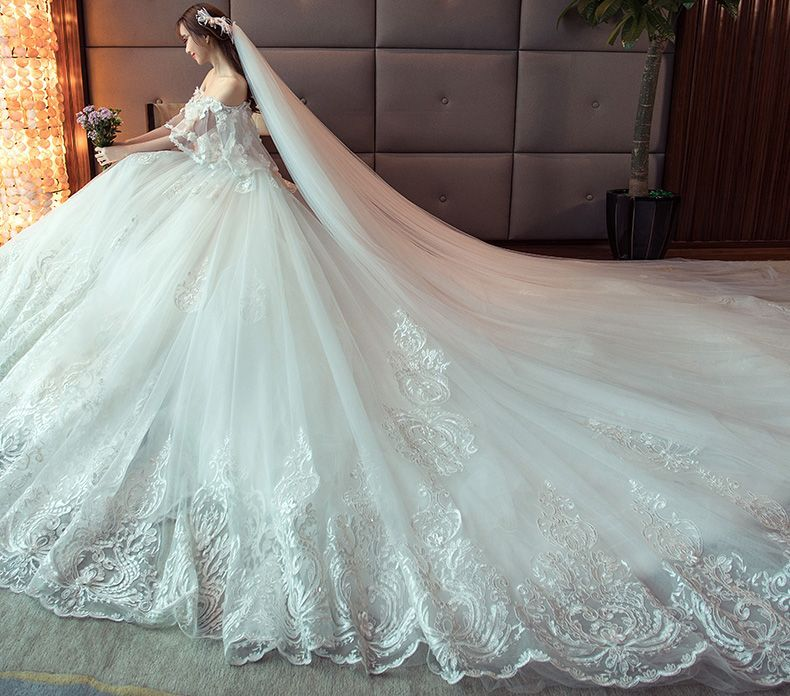 Shoulder Length Wedding Dress 2018 New Slim Korean Version Bride