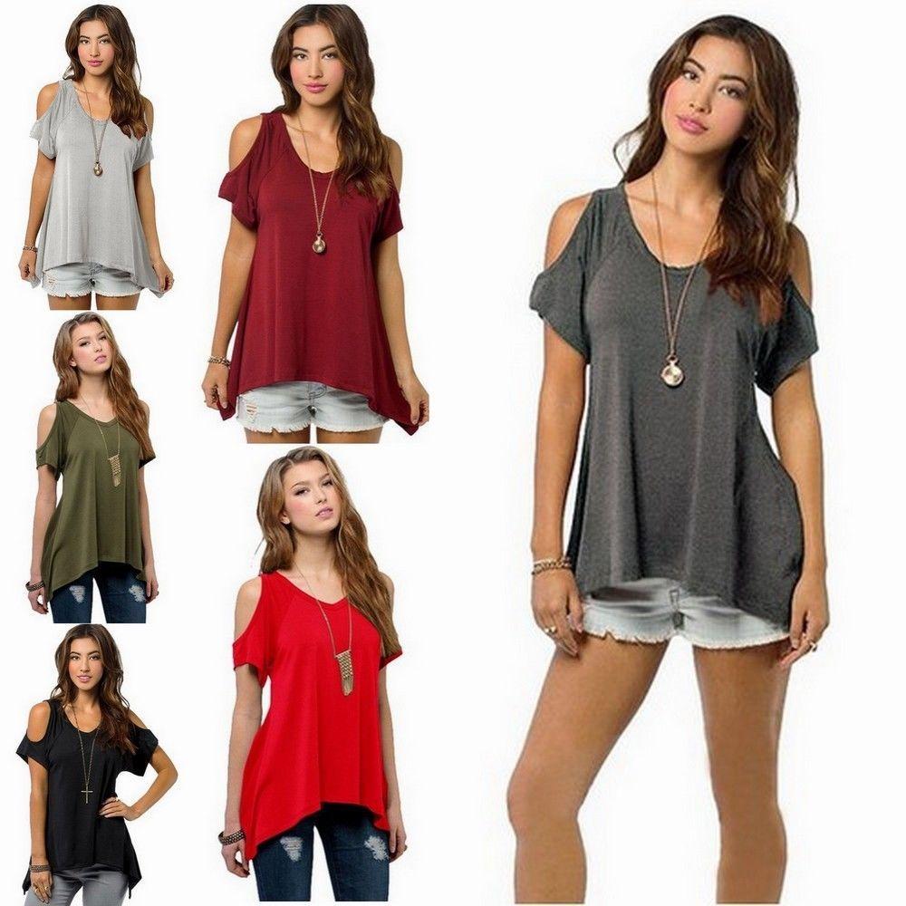 fashion women summer loose top short sleeve blouse ladies