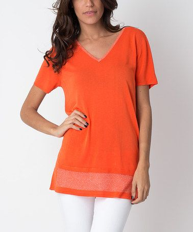 V-neck top DAY.LIKE orange Day Like Discount Visit New Outlet 100% Guaranteed I1Y0NF2skb
