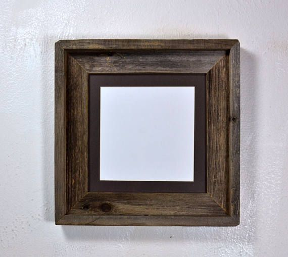 Reclaimed wood picture frame 8x8 with mat for 5x5 or 6x6 | Rustic ...
