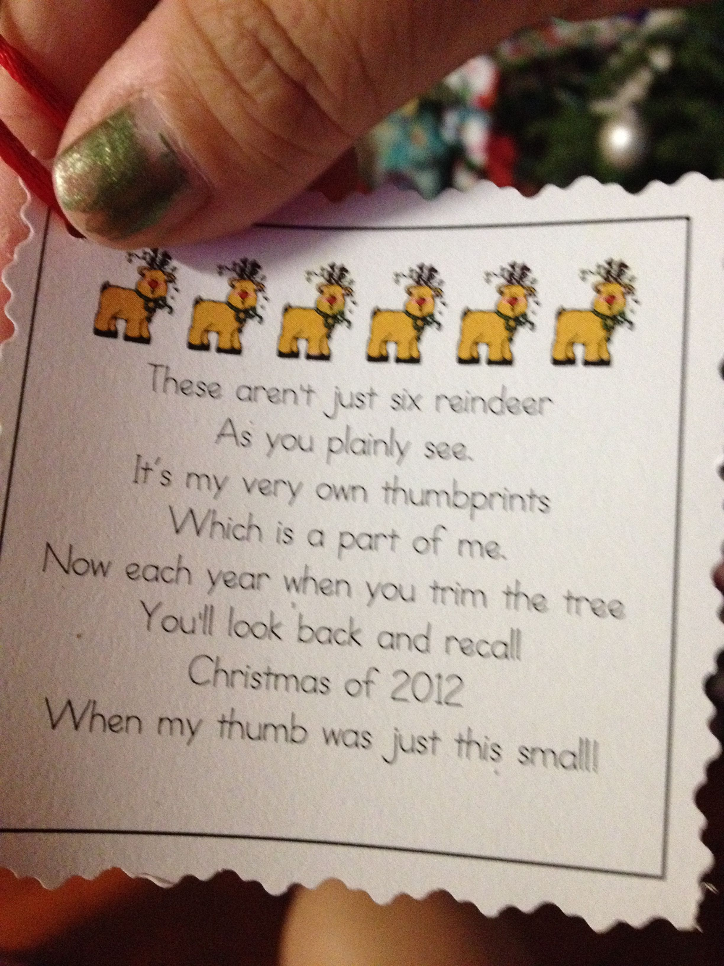 Christmas 6 reindeer thumbprint ornament tag Preschool