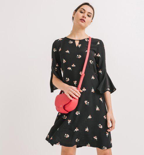 bdf00f6d99c18 Robe fleurie Femme imprimé noir - Promod
