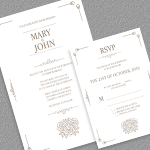 Simple Vintage Invitation And Rsvp Templates  Tr