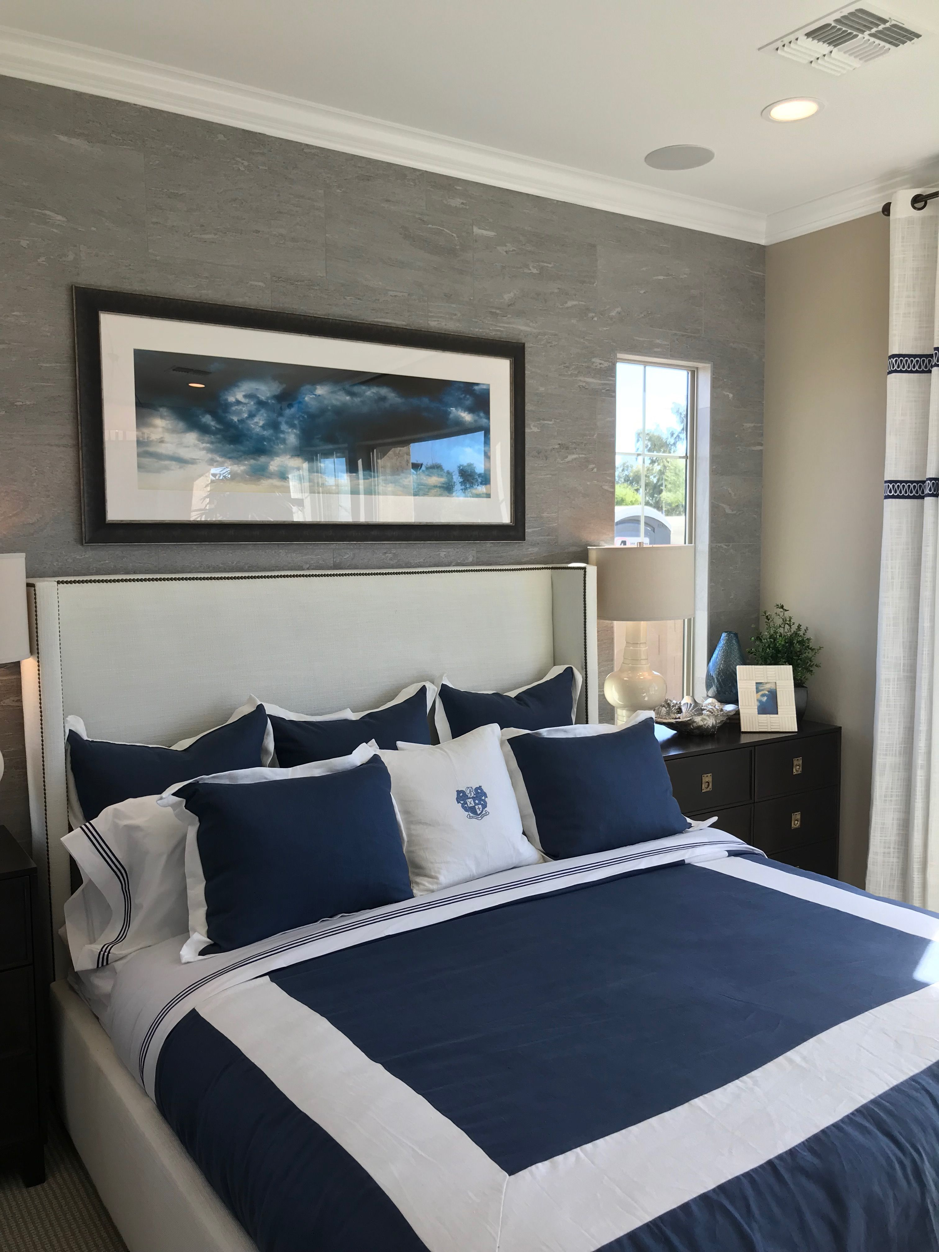 Master Bedroom with great navy and white bedding. I think