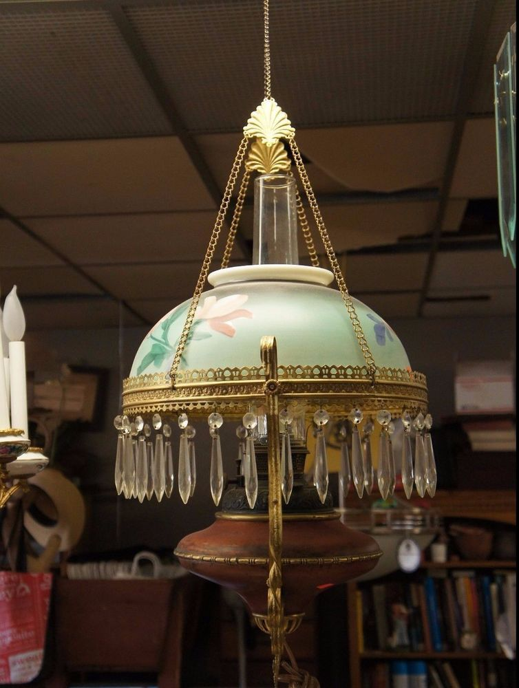 Antique Gas Converted Hurricane Lantern Chandelier Painted Glass Dome Crystals Unknown