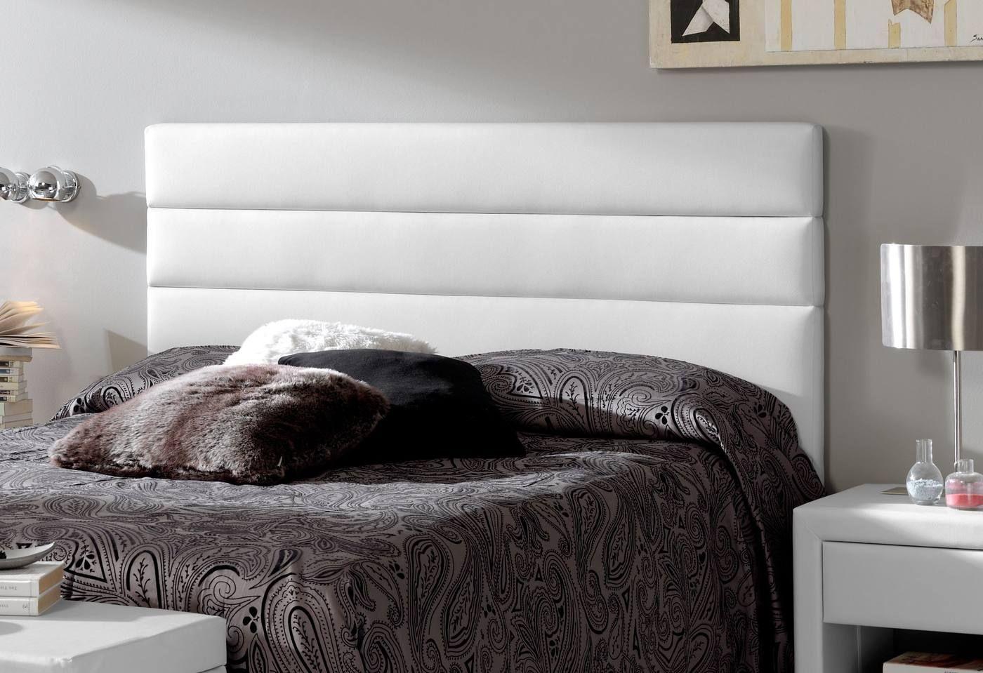 Cabecero tapizado en polipiel para cama de 150 cm - Cabecero tapizado blanco ...