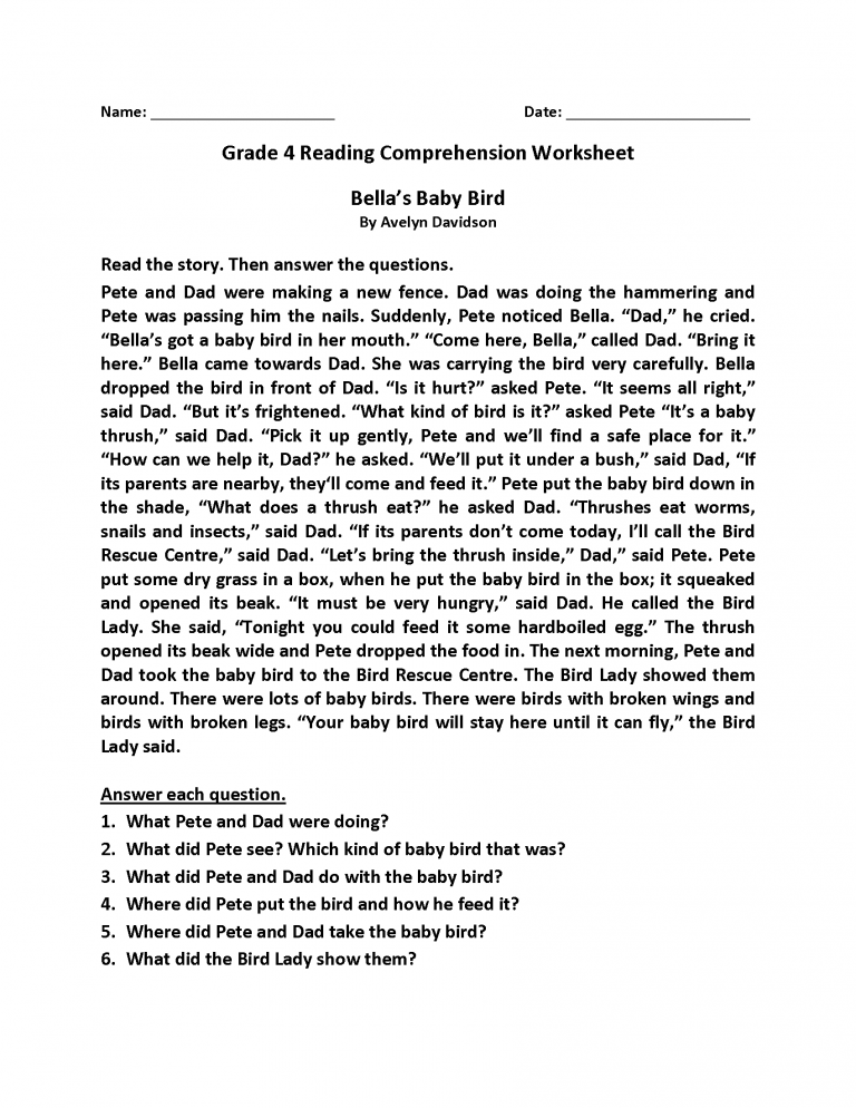 4th Grade Reading Comprehension Worksheets Reading