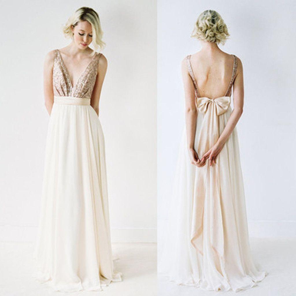 Off Shoulder Top Sequin Prom Dress V-Neck Junior Pretty Long ...