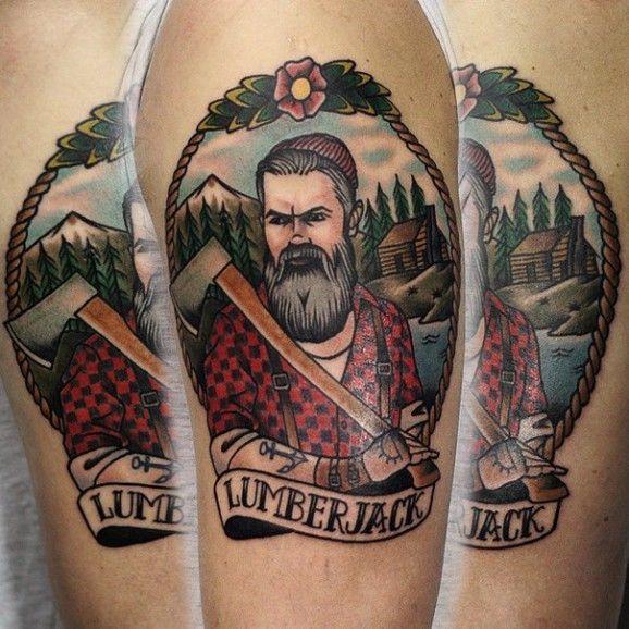 Lumberjack tattoo unknown artist