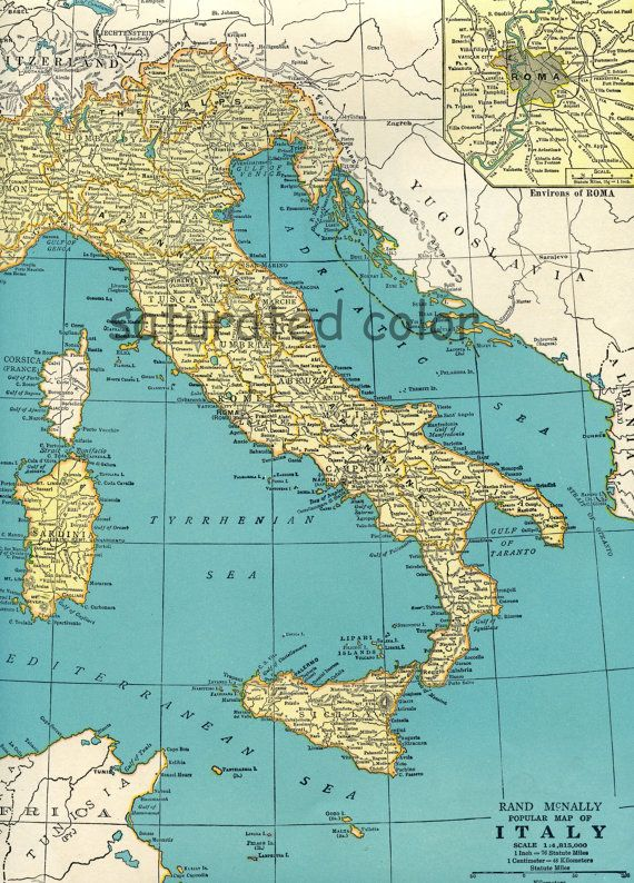 show me map of italy Vintage Italy Map Sicily Italia 1940 Vintage By Saturatedcolor
