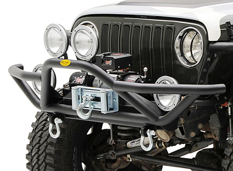 Smittybilt Front Src Bumper In Textured Black With Xrc 8 Winch For