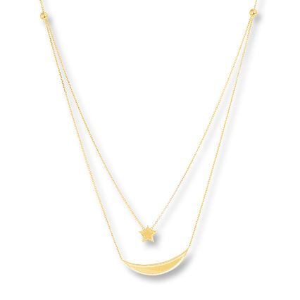 Kay Moon Star Layered Necklace 14k Yellow Gold Layered Necklaces Yellow Gold 14k Yellow Gold