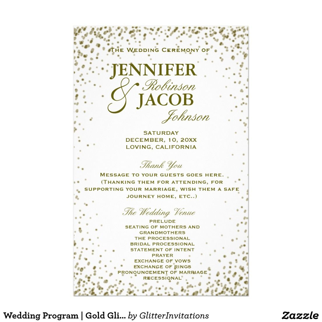 Wedding Program | Gold Glitter Confetti This charming and elegant wedding program features gold glitter confetti and would look great for your event. It is fully customizable with your text, and, you can change the font and colors in order to make it truly yours.
