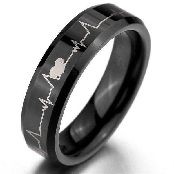 Men's Wide 6mm Tungsten Ring Bands Black Heart Comfort Fit Valentine... (£12) ❤ liked on Polyvore featuring men's fashion, men's jewelry, men's rings, mens tungsten rings, mens tungsten wedding rings, mens band rings, mens wedding rings and mens watches jewelry