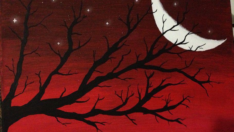 Acrylic Painting Night Moon Abstract Acrylic Paintings Artwork Acrylic Painting Artworks Simple Acrylic Paintings Painting