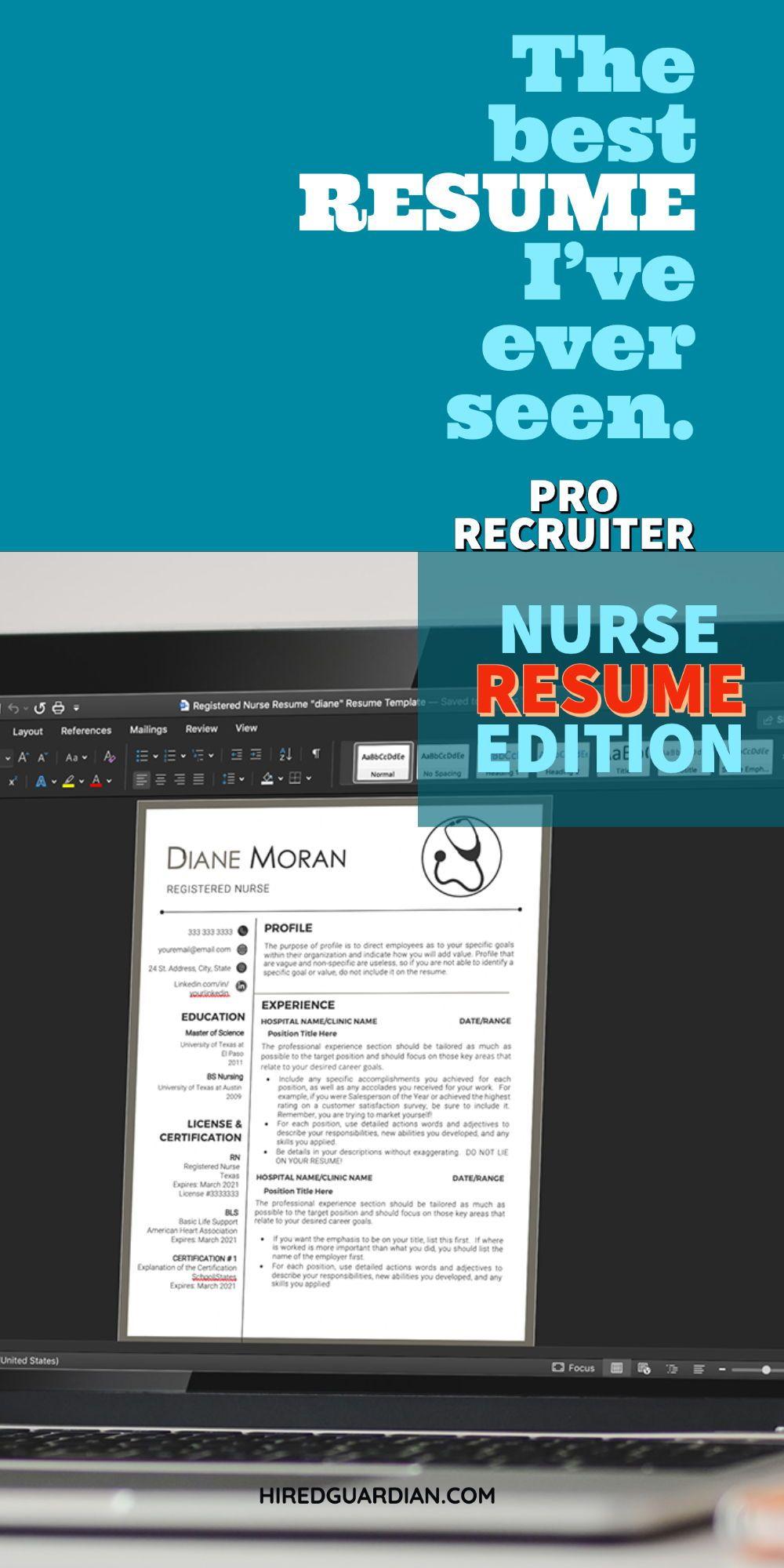 Pin on nursing resume template