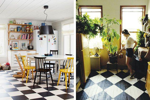 Damier Koujina Pinterest Damier Carrelage Et Parquet Ancien - Carrelage cuisine damier pour idees de deco de cuisine